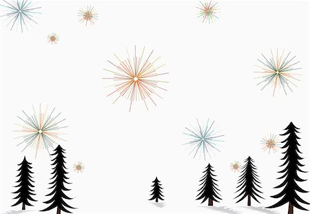 Stars glistening in the sky above pine trees and snow on the ground Stock Photo - Premium Royalty-Free, Code: 653-03843916