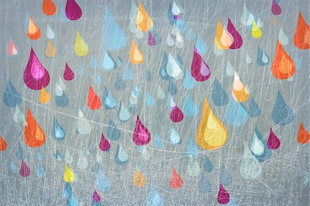 Colored rain drops falling Stock Photo - Premium Royalty-Free, Code: 653-03843913