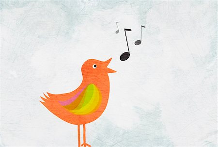 pic music note symbol - A bird singing Stock Photo - Premium Royalty-Free, Code: 653-03843923