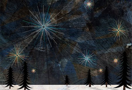 Stars glistening in the sky above pine trees and snow on the ground Stock Photo - Premium Royalty-Free, Code: 653-03843944