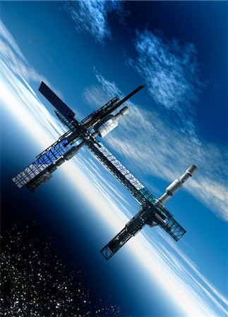 spaceship - Space station, artwork Stock Photo - Premium Royalty-Free, Code: 679-04250101