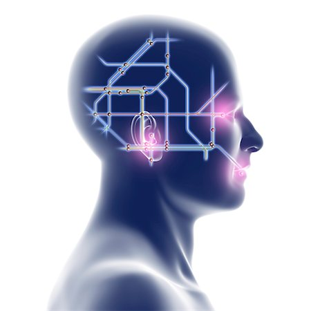 Head with network diagram Stock Photo - Premium Royalty-Free, Code: 679-04250520