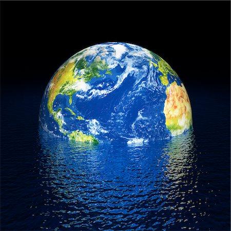 Rising sea levels, conceptual artwork Stock Photo - Premium Royalty-Free, Code: 679-04250645