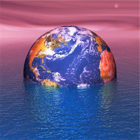 Rising sea levels, conceptual artwork Stock Photo - Premium Royalty-Free, Code: 679-04250646