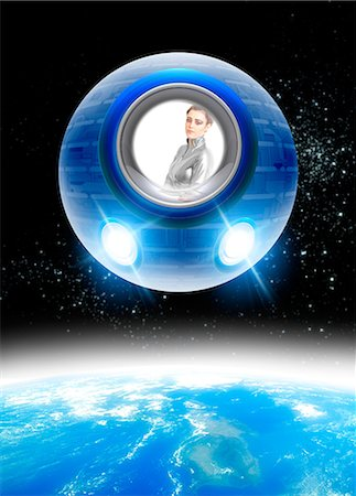 spaceship - Space tourism, composite image Stock Photo - Premium Royalty-Free, Code: 679-05797400