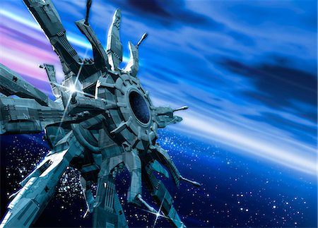 Space station orbiting Earth, artwork Stock Photo - Premium Royalty-Free, Code: 679-05797579
