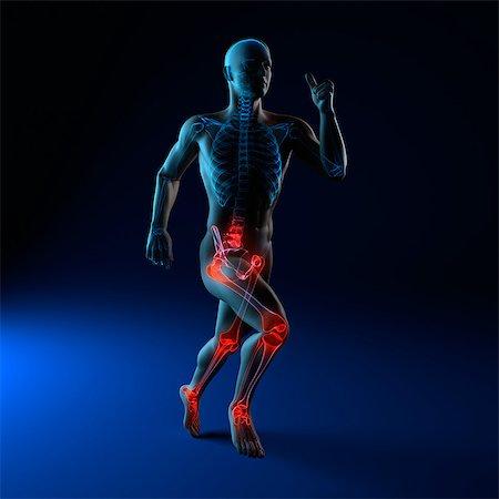 sprint - Running injuries, conceptual artwork Stock Photo - Premium Royalty-Free, Code: 679-05798066