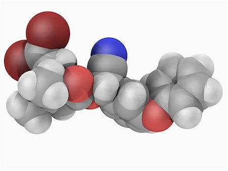 poison - Deltamethrin, molecular model. Popular and widely used pyrethroid ester insecticide. Atoms are represented as spheres and are colour-coded: carbon (grey), hydrogen (white), nitrogen (blue), oxygen (red) and bromine (brown). Stock Photo - Premium Royalty-Free, Code: 679-05994325