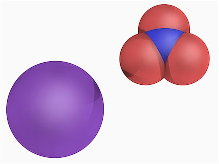 firework illustration - Potassium nitrate, molecular model. Chemical compound used in fertilizers, food additives, rocket propellants and fireworks. One of the constituents of gunpowder. Atoms are represented as spheres and are colour-coded: nitrogen (blue), oxygen (red) and potassium (violet). Stock Photo - Premium Royalty-Free, Code: 679-05994642