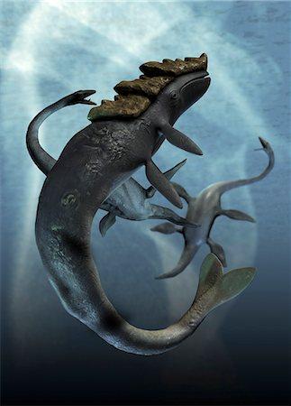 prehistoric - Leviathan and plesiosaur, computer artwork. Stock Photo - Premium Royalty-Free, Code: 679-05996215