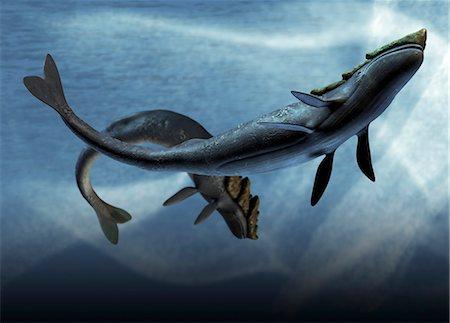 prehistoric - Leviathan sea monsters, computer artwork. Stock Photo - Premium Royalty-Free, Code: 679-05996230