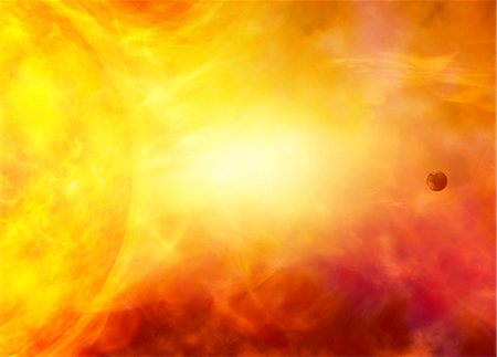 flame - Sun engulfing the Earth, computer artwork. Stock Photo - Premium Royalty-Free, Code: 679-05996283