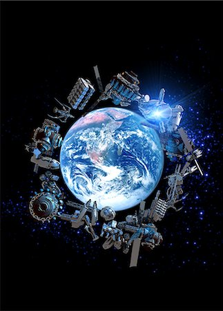 Space junk, computer artwork. Stock Photo - Premium Royalty-Free, Code: 679-05996306