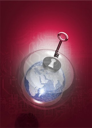 Digital security, conceptual computer artwork. Stock Photo - Premium Royalty-Free, Code: 679-05996346