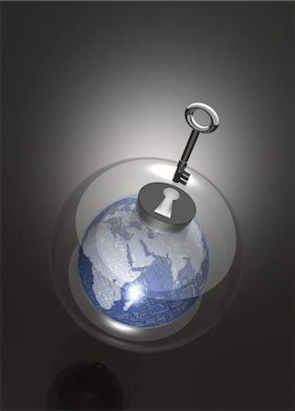Digital security, conceptual computer artwork. Stock Photo - Premium Royalty-Free, Code: 679-05996349