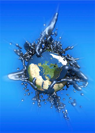 Grey goo engulfing Earth, conceptual computer artwork. Stock Photo - Premium Royalty-Free, Code: 679-05996361