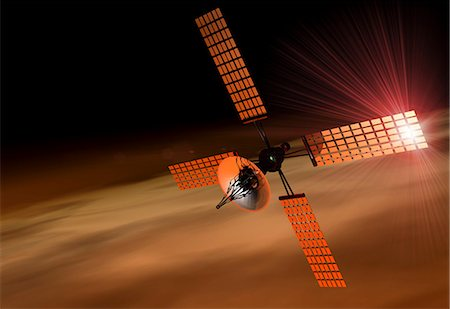 Satellite orbiting Mars, computer artwork. Stock Photo - Premium Royalty-Free, Code: 679-05996416