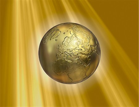shiny - Golden Earth, computer artwork. Stock Photo - Premium Royalty-Free, Code: 679-05996457