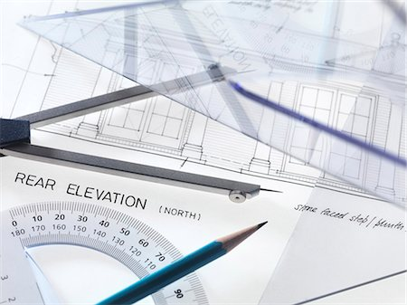 Architecture. Drawing equipment on architectural drawings. Stock Photo - Premium Royalty-Free, Code: 679-05996534