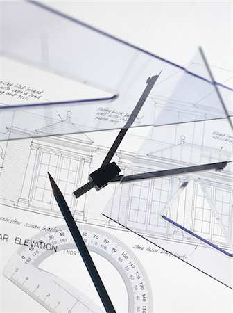 Architecture. Drawing equipment on architectural drawings. Stock Photo - Premium Royalty-Free, Code: 679-05996531