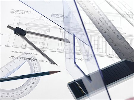 Architecture. Drawing equipment on architectural drawings. Stock Photo - Premium Royalty-Free, Code: 679-05996533
