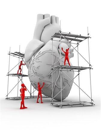 Conceptual computer artwork depicting a heart being repaired. Stock Photo - Premium Royalty-Free, Code: 679-05996614