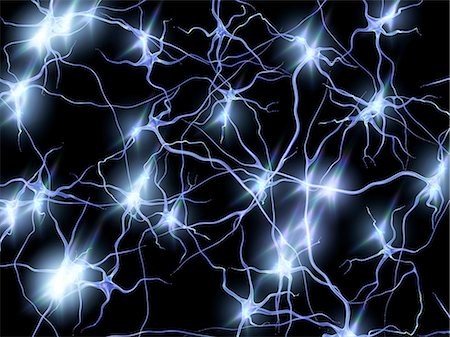 synapse - Nerve cells. Computer artwork of nerve cells or neurons firing. Stock Photo - Premium Royalty-Free, Code: 679-05996612