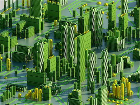 futuristic - Computer artwork of a conceptual circuit cityscape made of electronic components. Stock Photo - Premium Royalty-Free, Code: 679-05992476