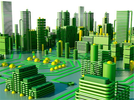 futuristic - Computer artwork of a conceptual circuit cityscape made of electronic components. Stock Photo - Premium Royalty-Free, Code: 679-05992479