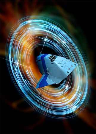 spaceship - Time travelling spacecraft. Conceptual computer artwork of a spacecraft travelling through a wormhole. Stock Photo - Premium Royalty-Free, Code: 679-05992727