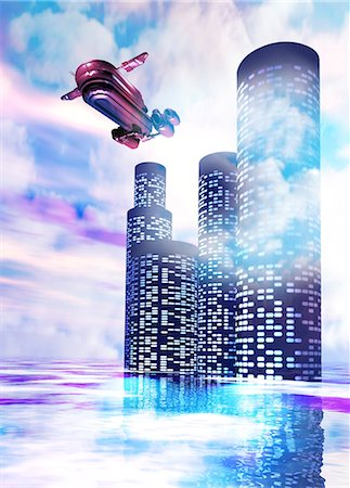 spaceship - Future of travel. Conceptual computer artwork of a space ship leaving a station in the clouds. Stock Photo - Premium Royalty-Free, Code: 679-05992728