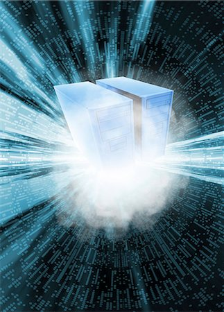 sparks illustration - Cloud computing, conceptual computer artwork. Stock Photo - Premium Royalty-Free, Code: 679-05992744