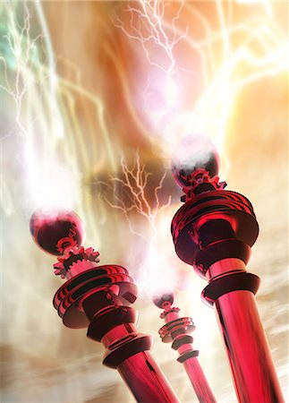 Tesla coils firing, computer artwork Stock Photo - Premium Royalty-Free, Code: 679-05992747
