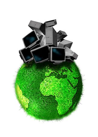 Recycling obsolete technology, conceptual computer artwork. Stock Photo - Premium Royalty-Free, Code: 679-05992761