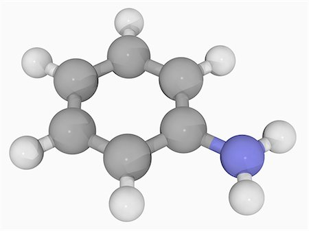 smelly - Aniline, molecular model. Aniline is the prototypical aromatic amine, precursor to many industrial chemicals e. g. polyurethane. Atoms are represented as spheres and are colour-coded: carbon (grey), hydrogen (white) and nitrogen (blue). Stock Photo - Premium Royalty-Free, Code: 679-05993497