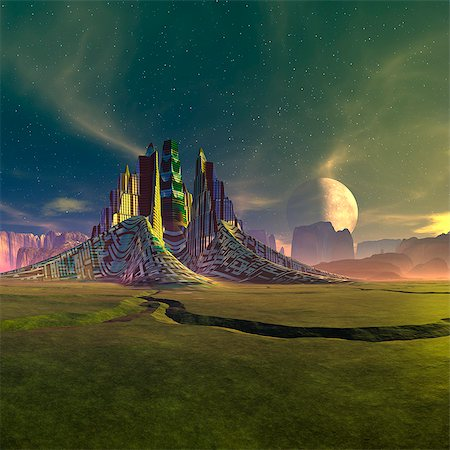 settlement - Space colony, computer artwork. Stock Photo - Premium Royalty-Free, Code: 679-06198335