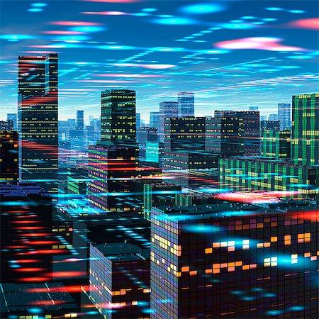 futuristic - Futuristic city, conceptual computer artwork. Stock Photo - Premium Royalty-Free, Code: 679-06198349