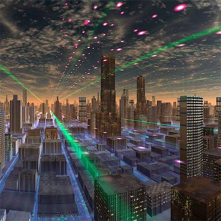 space - Futuristic city, conceptual computer artwork. Stock Photo - Premium Royalty-Free, Code: 679-06198350