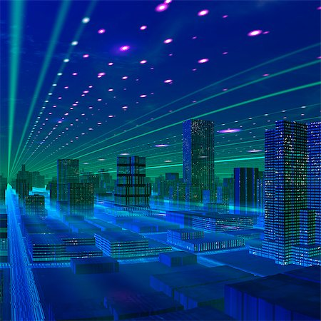 futuristic - Futuristic city, conceptual computer artwork. Stock Photo - Premium Royalty-Free, Code: 679-06198352