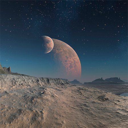 space - Alien planet, computer artwork. Stock Photo - Premium Royalty-Free, Code: 679-06198368