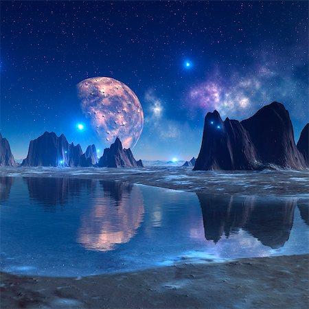 futuristic - Alien planet, computer artwork. Stock Photo - Premium Royalty-Free, Code: 679-06198371