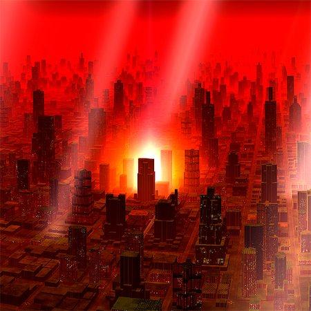 futuristic - Meteor shower over alien city, computer artwork. Stock Photo - Premium Royalty-Free, Code: 679-06198386