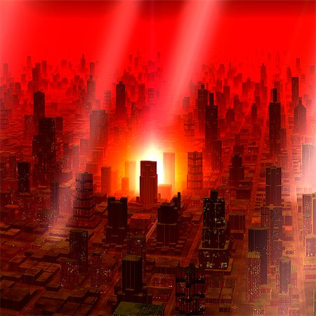 flame - Meteor shower over alien city, computer artwork. Stock Photo - Premium Royalty-Free, Code: 679-06198386