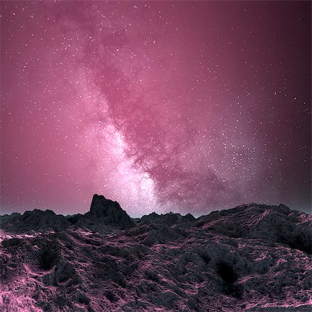 space - Milky way seen from an alien planet, computer artwork. Stock Photo - Premium Royalty-Free, Code: 679-06198389