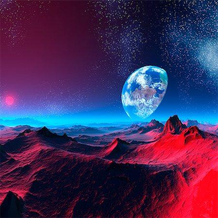 space - Earth-like alien planet, computer artwork. Stock Photo - Premium Royalty-Free, Code: 679-06198380