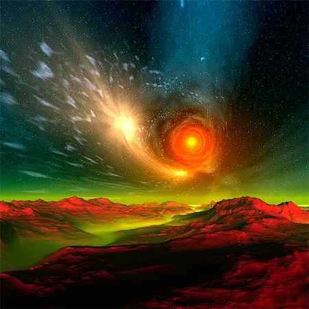 sparks illustration - Alien planet, computer artwork. Stock Photo - Premium Royalty-Free, Code: 679-06198404
