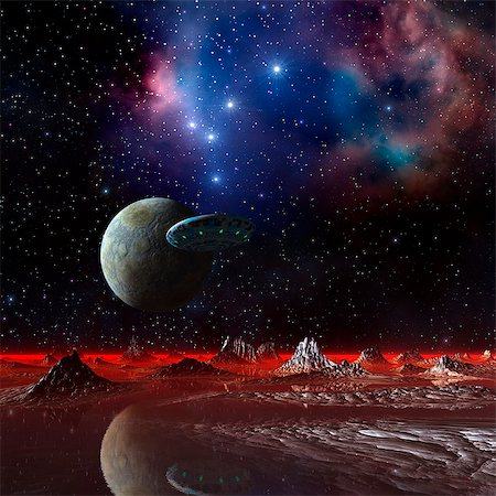 space - UFO over an alien planet, computer artwork. Stock Photo - Premium Royalty-Free, Code: 679-06198401