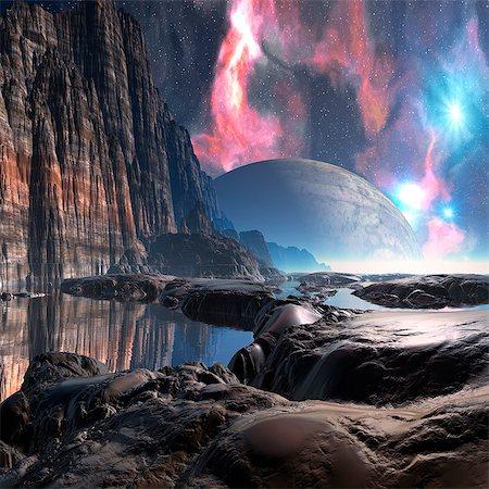 space - Alien planet, computer artwork. Stock Photo - Premium Royalty-Free, Code: 679-06198403