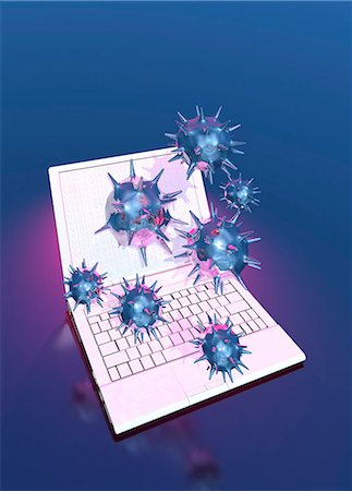 Computer virus, conceptual computer artwork. Stock Photo - Premium Royalty-Free, Code: 679-06198426