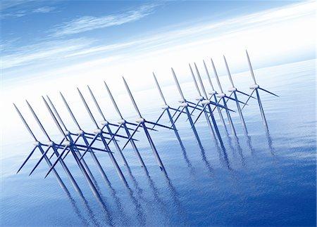 Offshore wind farm, computer artwork. Stock Photo - Premium Royalty-Free, Code: 679-06198661
